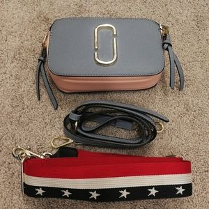 Handbags - Blue Pink White Camera Bag Crossbody Mini Bag